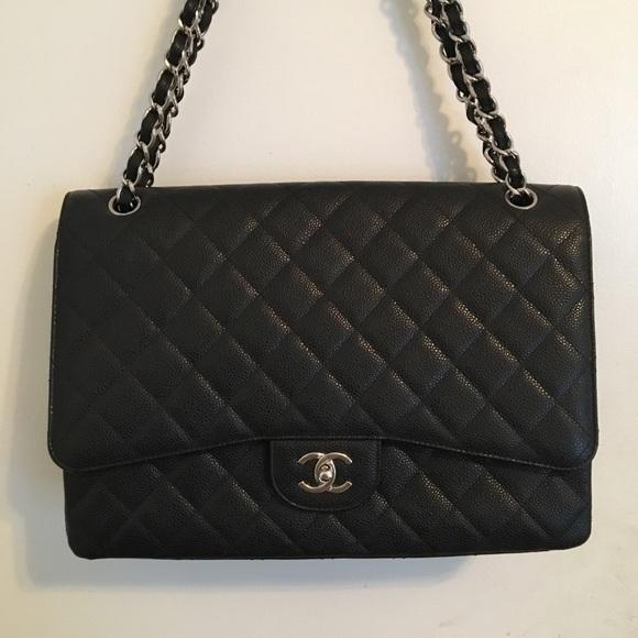 d84fe3dc67ae CHANEL Handbags - Chanel Black Caviar Maxi Silver HW, Larger Jumbo